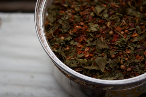 a blend of parsley, fennel, garlic, sweet paprika, and other spices
